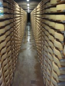 Gruyere cheese stacked, Gruyere, Switzerland.
