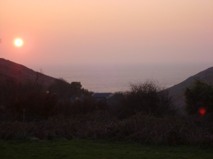 Setting sun from the youth hostel in Cornwall, UK